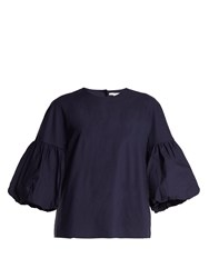 Tibi Balloon Sleeve Cotton Top Navy