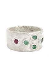 Franny E Jewelry Women's Emerald And Ruby Ring