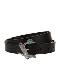 Lanvin Crane Leather Belt Unisex Black