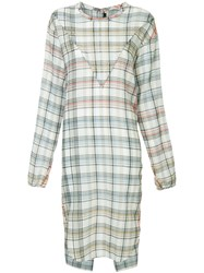 Bassike Check Gauze Shirt Dress White