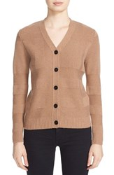 Burberry Women's Bann Plaid Knit Wool And Cashmere Cardigan Camel