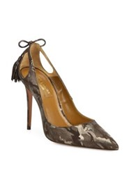Aquazzura Forever Marilyn Cutout Camo Print Suede Point Toe Pumps Metal Camouflage