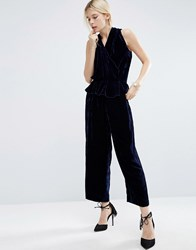Asos White Velvet Sleeveless Jumpsuit Navy
