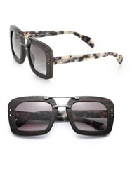 Prada Wooden 51Mm Square Sunglasses Brown Wood