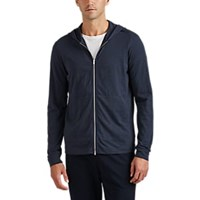 Theory Cosmos Cotton Zip Front Hoodie Charcoal