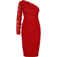 River Island Dark Red Lace One Shoulder Bodycon Dress