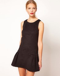 Oasis Embossed Dress With Drop Waist Black