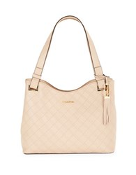 Calvin Klein Quilted Leather Shoulder Bag Wheat