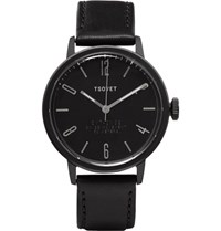 Tsovet Svt Cn38 38Mm Stainless Steel And Leather Watch Black