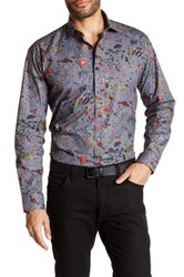 Maceoo Snake Trim Fit Print Sport Shirt Big And Tall Available Blue