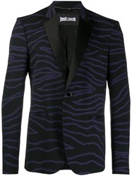 Just Cavalli Printed Slim Fit Blazer Black