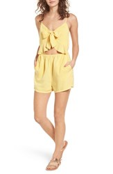 Mimi Chica Tie Front Cutout Romper Yellow