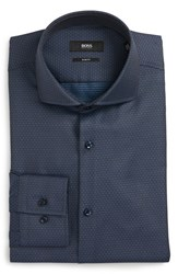 Boss Men's Slim Fit Stripe Dress Shirt Navy