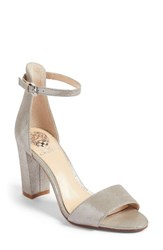Vince Camuto Women's Corlina Ankle Strap Sandal Pewter Dazzle Suede