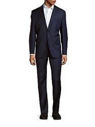 Yves Saint Laurent Solid Two Button Wool Suit Navy