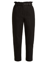 Isa Arfen Belted Tapered Leg Denim Cropped Trousers Black