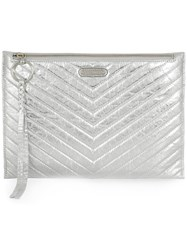 Rebecca Minkoff Large Quilted Clutch Bag Silver