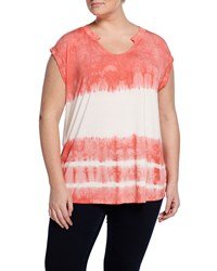 Cirana Plus Cap Sleeve Tie Dye Top White Coral