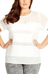 Plus Size Women's City Chic 'Sheer Splice' Top Ivory