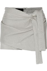 Jay Ahr Wrap Effect Coated Stretch Knit Shorts Gray