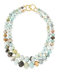 2 Strand Graduated Jade Bead Necklace Kenneth Jay Lane Green