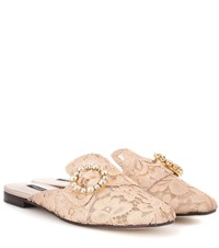 Dolce And Gabbana Jackie Crystal Embellished Lace Slippers Pink