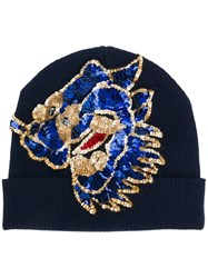 P.A.R.O.S.H. Sequin Embroidered Beanie Blue
