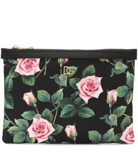 Dolce And Gabbana Floral Nylon Pouch Black