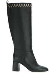 Red Valentino Eyelet Detail Knee Boots Black