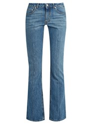 Alexander Mcqueen Mid Rise Flared Cropped Jeans Light Denim