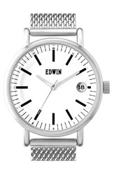 Men's Edwin 'Epic' Mesh Strap Watch 42Mm Black
