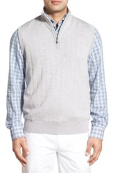 Men's Bobby Jones Quarter Zip Wool Sweater Vest Heather Grey