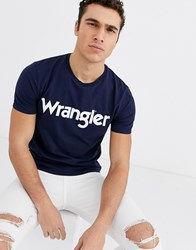 Wrangler Logo T Shirt In Navy