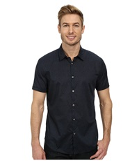John Varvatos Cuffed Short Sleeve Shirt Indigo Men's Clothing Blue