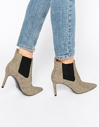 Office Angle Leopard Print Point Heeled Ankle Boots Leopard Textile Multi