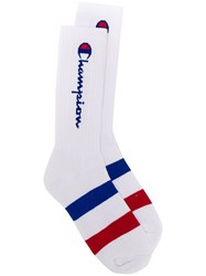 Champion Logo Socks White