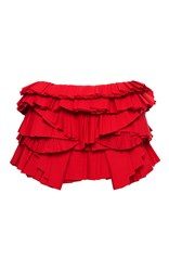 Givenchy Cotton Poplin Ruffle Skirt Red