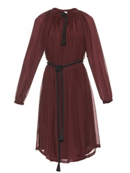 Lanvin Long Sleeved Rope Tie Chiffon Dress