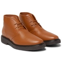 Common Projects Saffiano Leather Desert Boots Brown