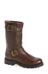 Frye Women's Natalie Buckle Strap Engineer Genuine Shearling Lined Boot