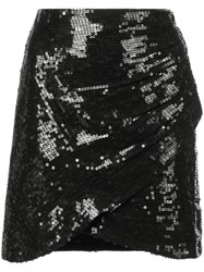 Alice Olivia Sequin Wrap Mini Skirt Black
