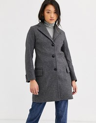 Gloverall Chesterfield Wool Blend Tailored Coat Grey