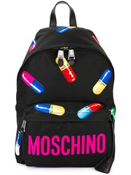Moschino Pill Print Backpack Black
