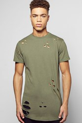 Boohoo Fit Destroyed T Shirt With Double Zip Khaki