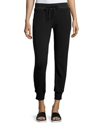 Solow Cropped Terry Lined Track Pants Black