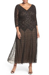 Pisarro Nights Plus Size Women's Beaded V Neck Lace Illusion Gown