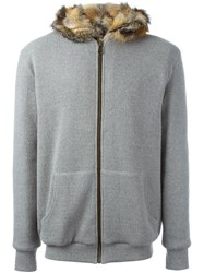 Mr And Mrs Italy Fur Lined Hoodie Grey