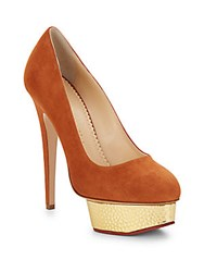 Charlotte Olympia Dolly Suede And Embossed Metallic Leather Platform Pumps Brown