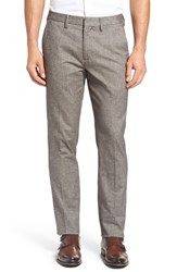 Bonobos Men's Big And Tall Foundation Slim Fit Trousers Taupe Brushed Herringbone