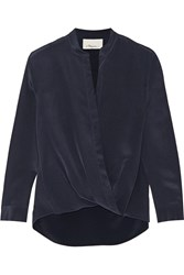 3.1 Phillip Lim Draped Silk Crepe De Chine Wrap Top Blue